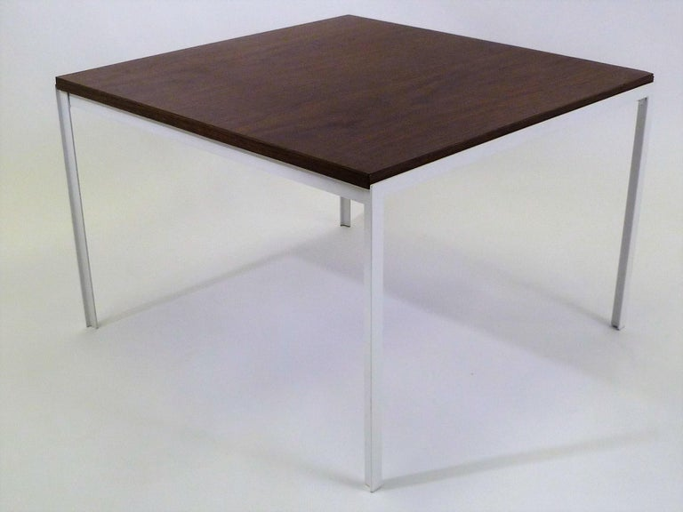 American Florence Knoll T Angle Walnut Wood Grain Laminate Top Table for Knoll For Sale