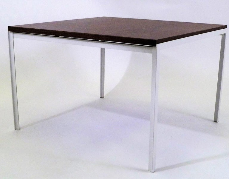 Mid-20th Century Florence Knoll T Angle Walnut Wood Grain Laminate Top Table for Knoll For Sale