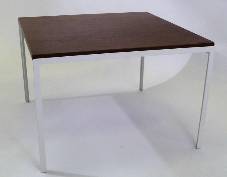 Iron Florence Knoll T Angle Walnut Wood Grain Laminate Top Table for Knoll For Sale