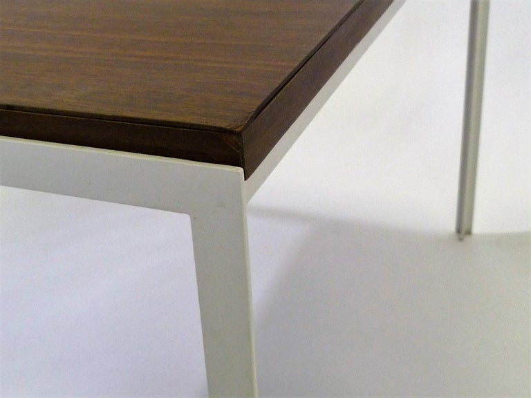 Florence Knoll T Angle Walnut Wood Grain Laminate Top Table for Knoll For Sale 2