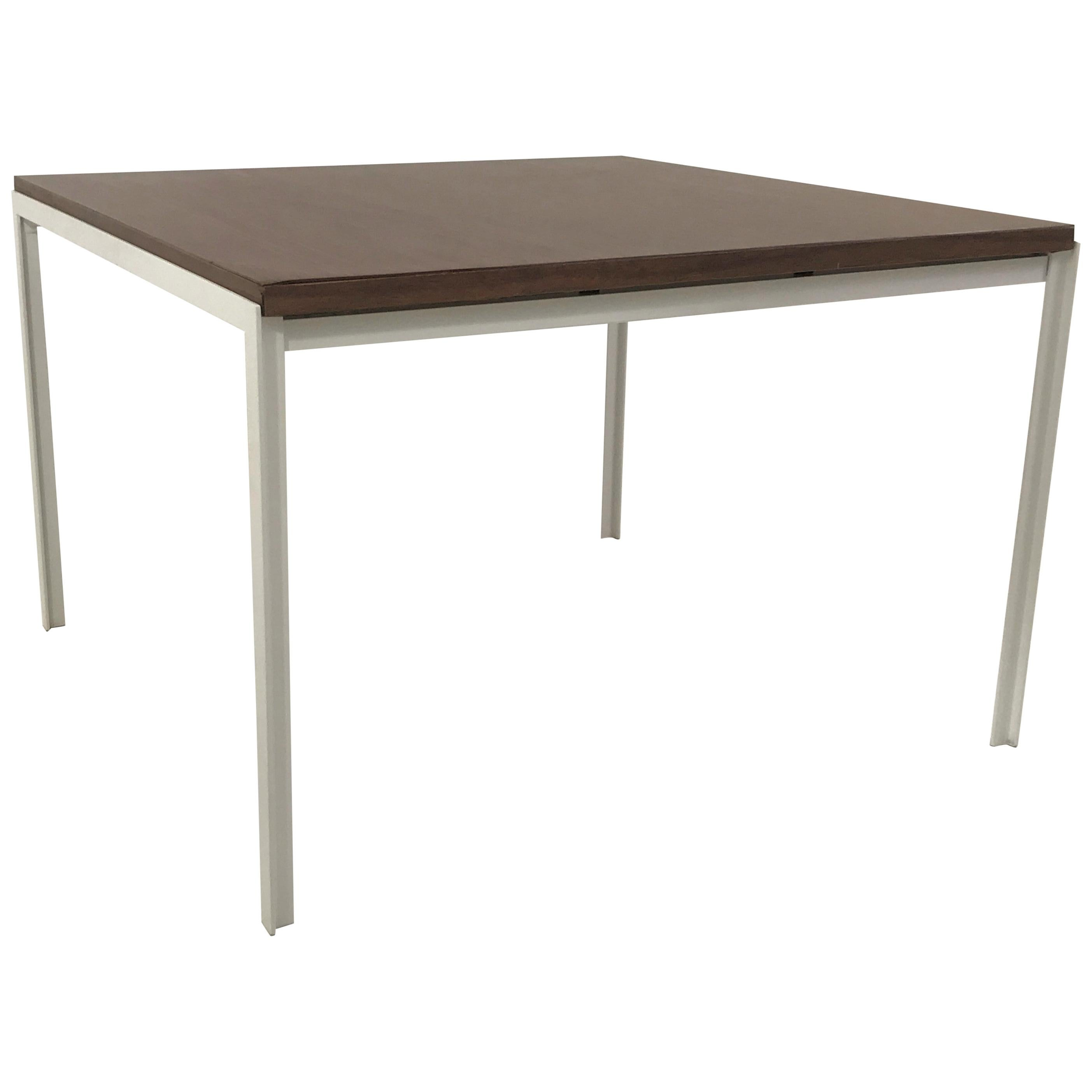 Florence Knoll T Angle Walnut Wood Grain Laminate Top Table for Knoll