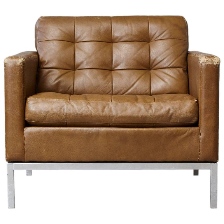 Florence Knoll Tan Leather Button Tufted Lounge Chair, 1970s 1