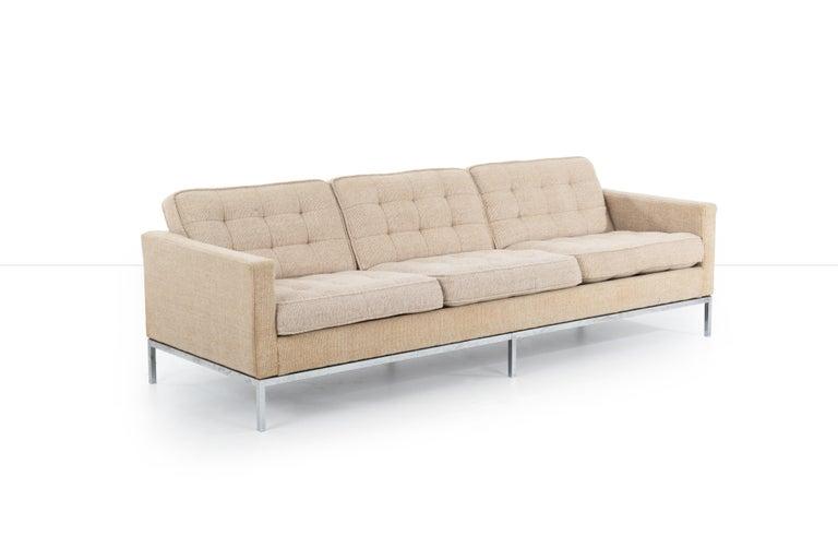 American Florence Knoll Three-Seat Tuxedo Sofa For Sale