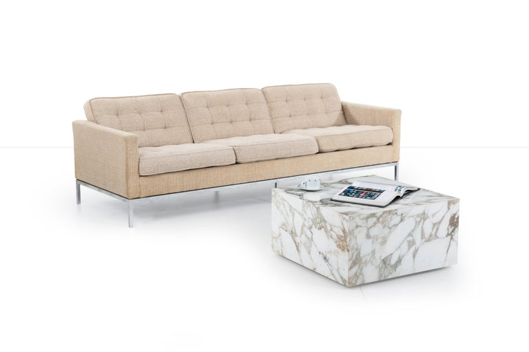 Florence Knoll Three-Seat Tuxedo Sofa In Fair Condition For Sale In Chicago, IL