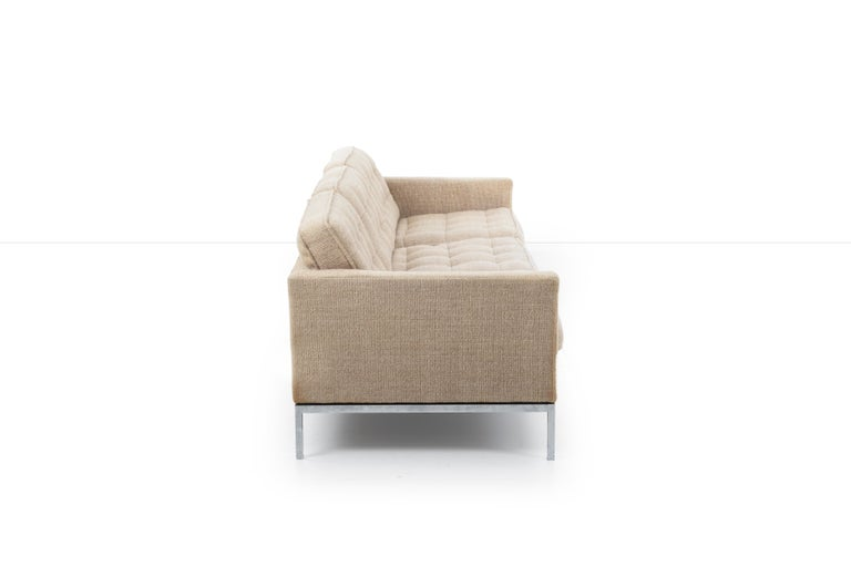 Mid-20th Century Florence Knoll Three-Seat Tuxedo Sofa For Sale