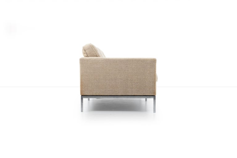 Wool Florence Knoll Three-Seat Tuxedo Sofa For Sale