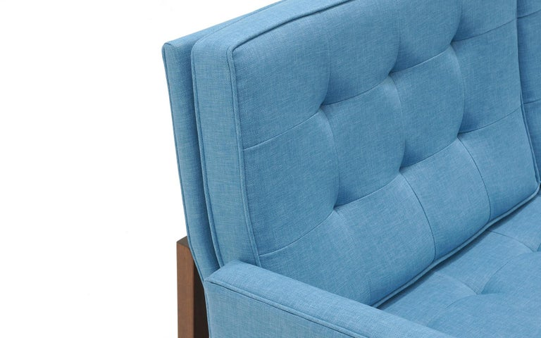 Florence Knoll Three-Seat Sofa Walnut Frame Restored, New Blue Upholstery For Sale 4
