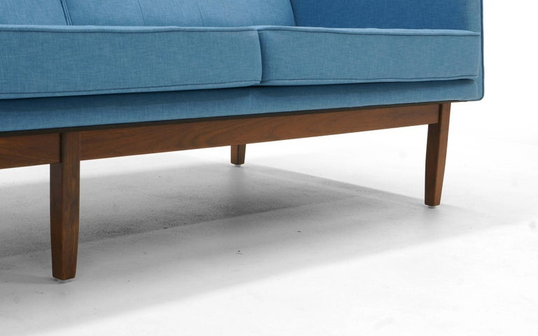 Florence Knoll Three-Seat Sofa Walnut Frame Restored, New Blue Upholstery For Sale 5