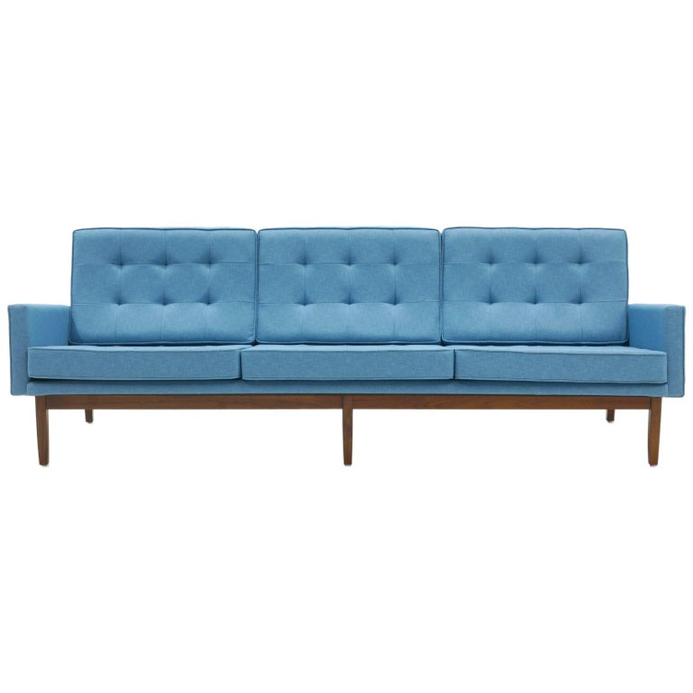 Florence Knoll Three-Seat Sofa Walnut Frame Restored, New Blue Upholstery For Sale