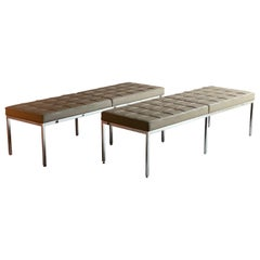 Florence Knoll Three-Seat Leather Benche by Knoll Studio, Stamped & Signed