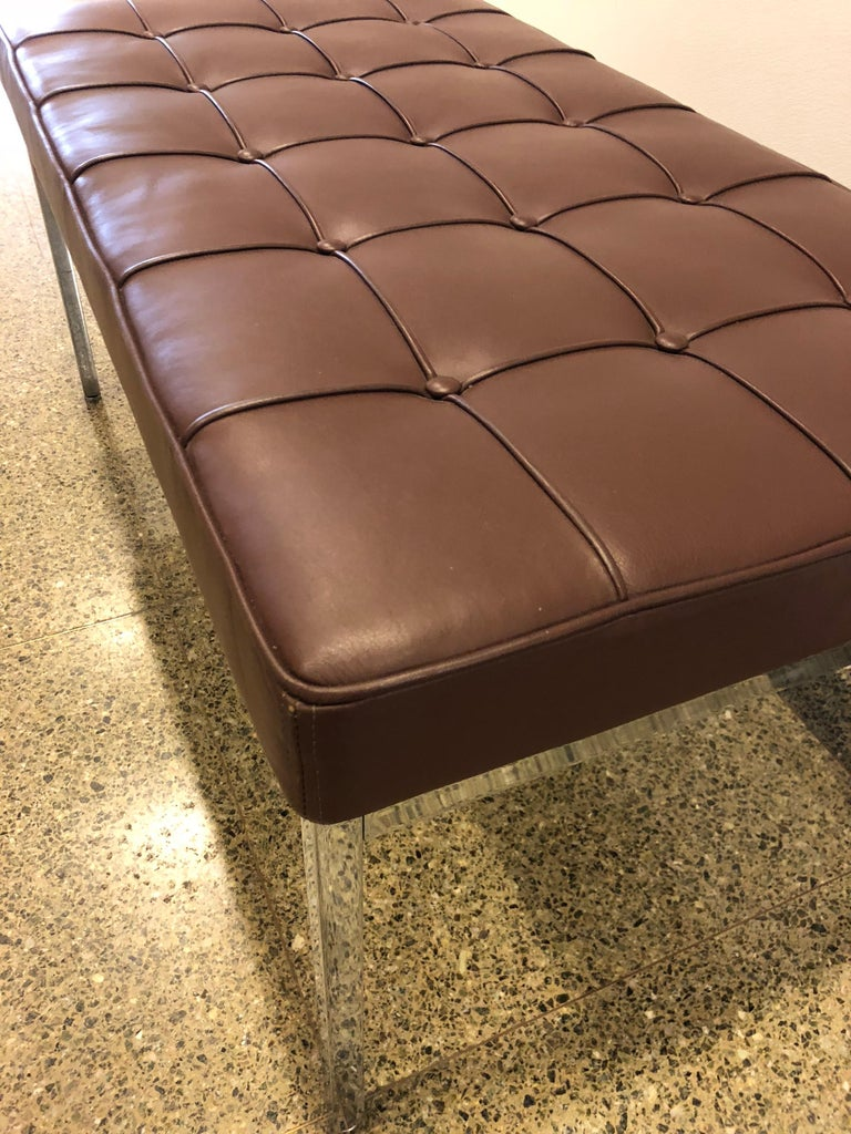 American Florence Knoll Tufted Brown Leather and Chrome Bench, Mfg. Knoll For Sale