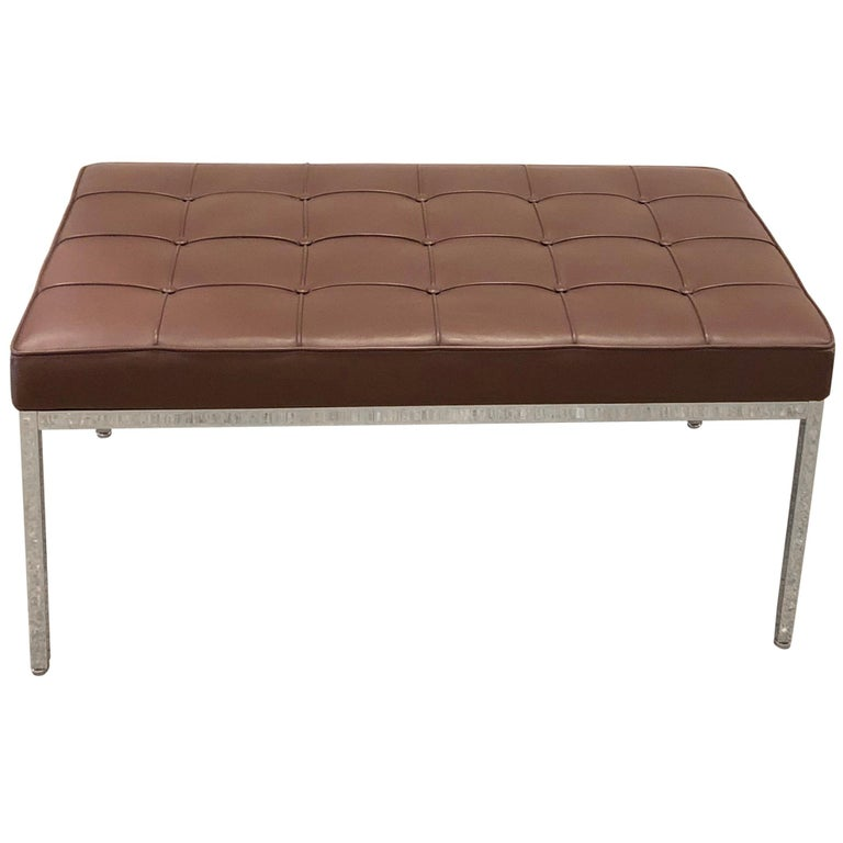 Florence Knoll Tufted Brown Leather and Chrome Bench, Mfg. Knoll For Sale