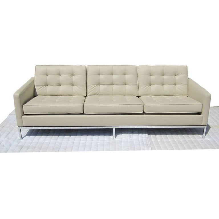 Florence Knoll Tufted Ultra Leather Sofa For Sale At 1stdibs