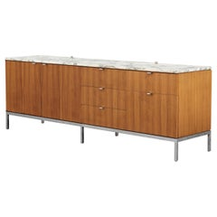 Florence Knoll Walnut and Marble Credenza / Sideboard, by Nordiska Sweden, 1966