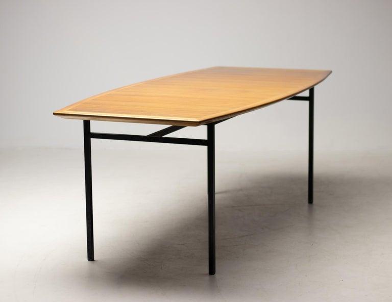 Steel Florence Knoll Walnut Model 578 Table For Sale