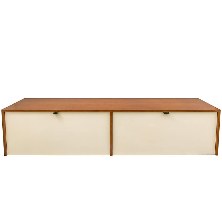 Florence Knoll Walnut Wall-Mounted Drop Front Cabinet for Knoll, USA 1950s For Sale