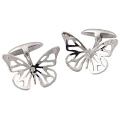 Florence Larochas White Gold and Diamond Butterfly Cufflinks