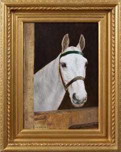 Equestrian portrait oil painting of a white horse at a stable door