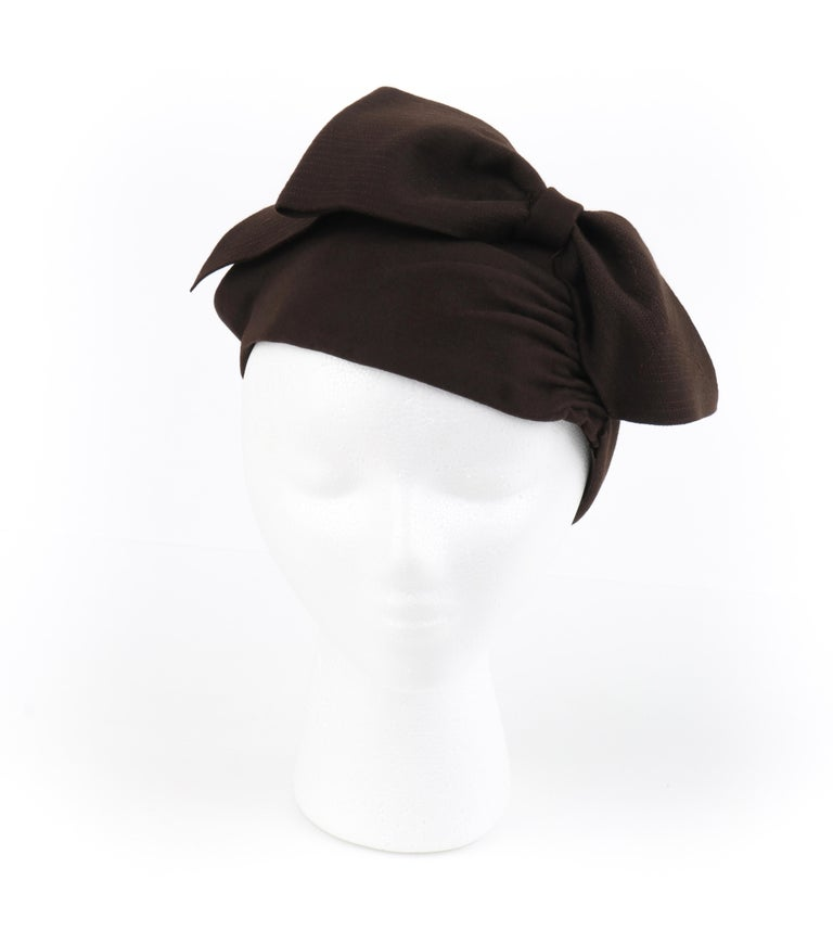 Black FLORENCE MILLINERY COUTURE c.1940s Chocolate Brown Felt Front Bow Turban Hat For Sale