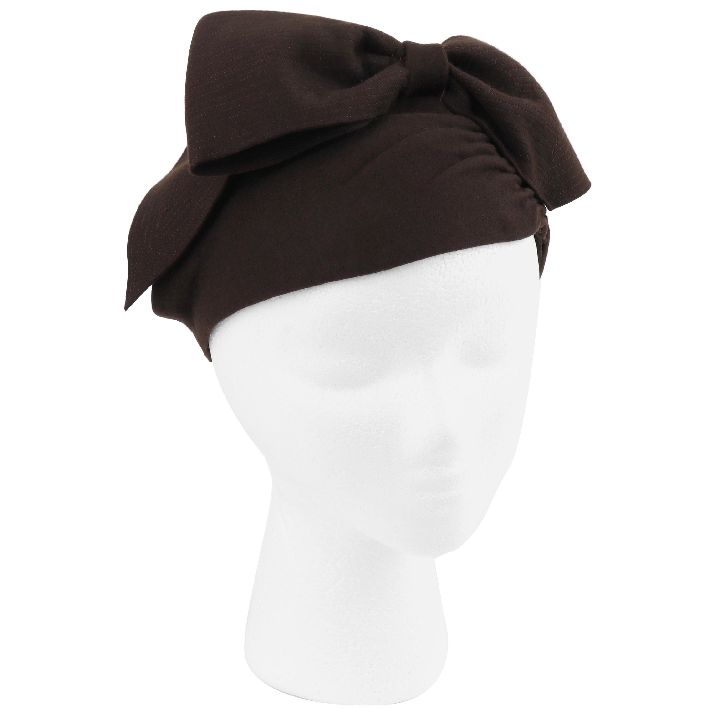 FLORENCE MILLINERY COUTURE c.1940s Chocolate Brown Felt Front Bow Turban Hat