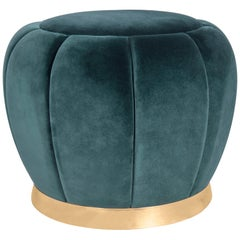Florence Stool in Teal Blue Velvet