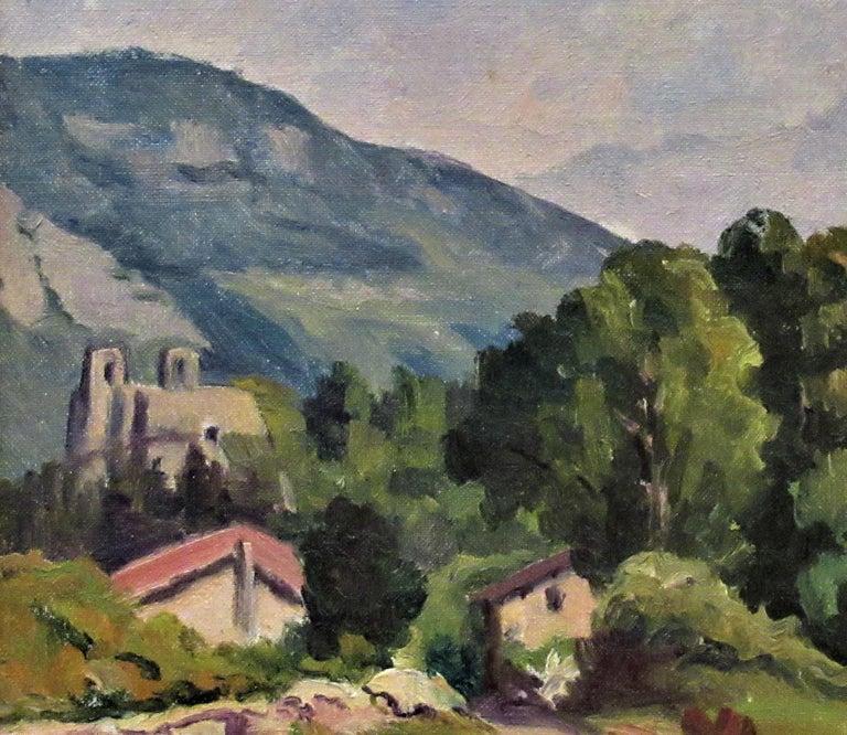Cote de Lassange, Grenoble Belldone - Impressionist Painting by Florent Chade