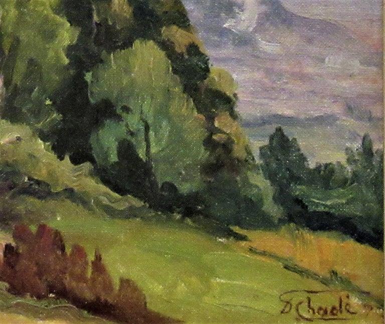 Cote de Lassange, Grenoble Belldone - Brown Landscape Painting by Florent Chade