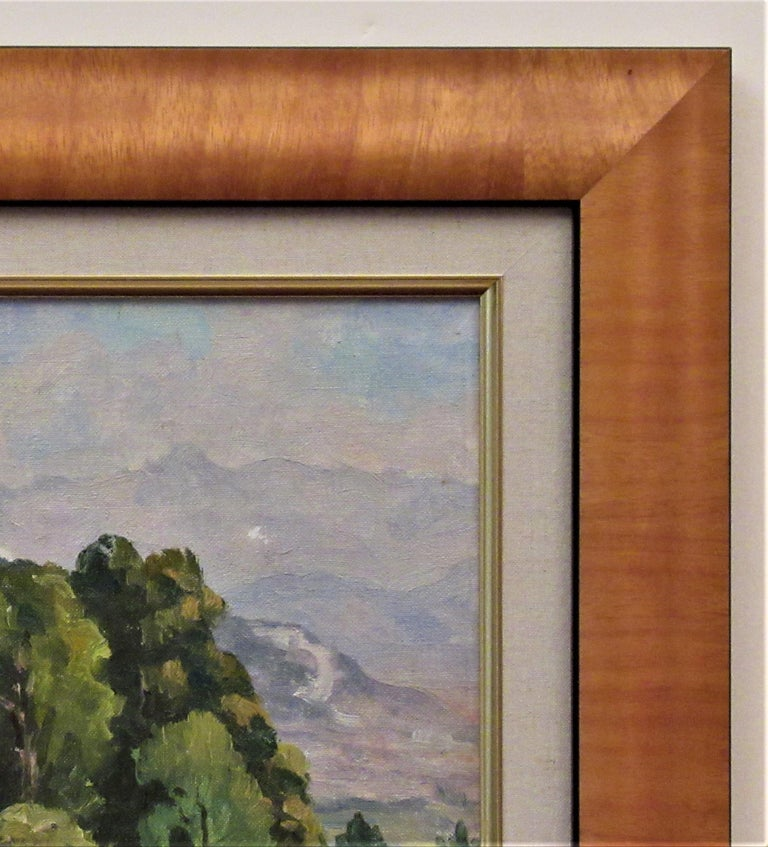Artist:   Florent Chade (French, 1896-1985) Title:    Cote de Lassange, Grenoble Belldone Year:   Circa 1950 Medium:Oil on board Board size:  10.75 x 13.75 inches Signature:   Signed lower right by the artist Condition: Excellent Frame:   Framed in