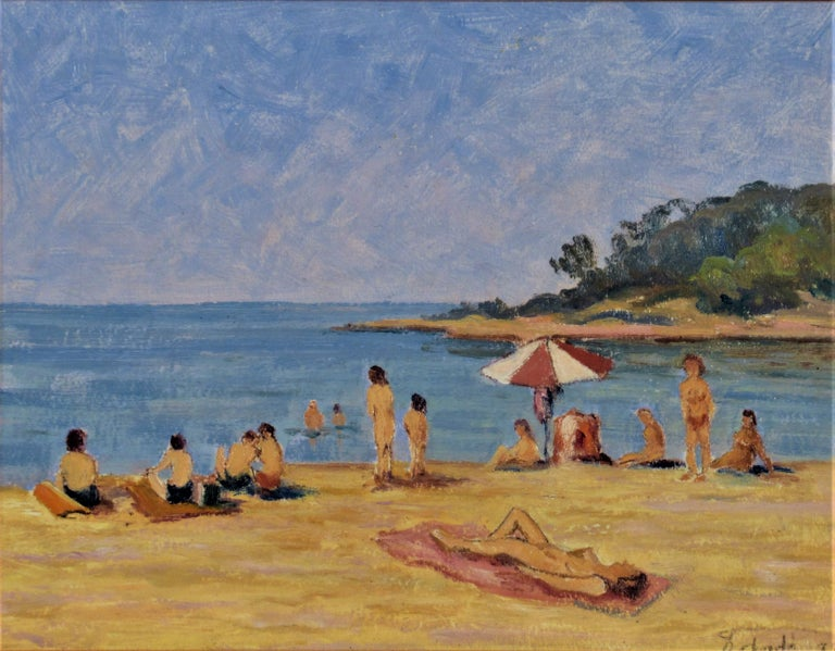Sur la Plage (On the Beach) - Painting by Florent Chade