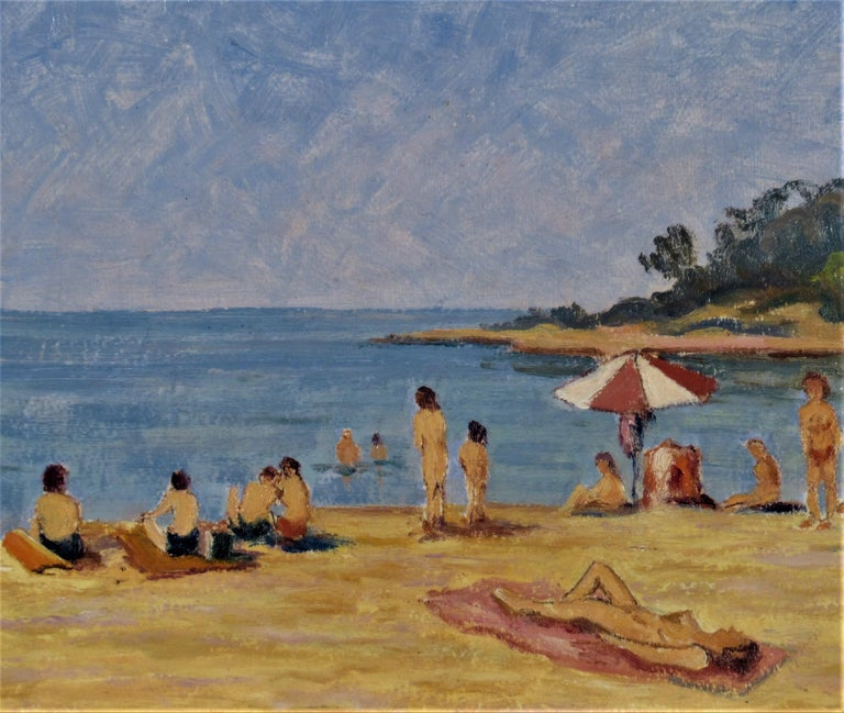 Sur la Plage (On the Beach) - Impressionist Painting by Florent Chade