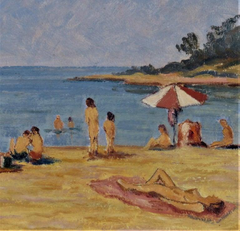 Sur la Plage (On the Beach) - Gray Landscape Painting by Florent Chade