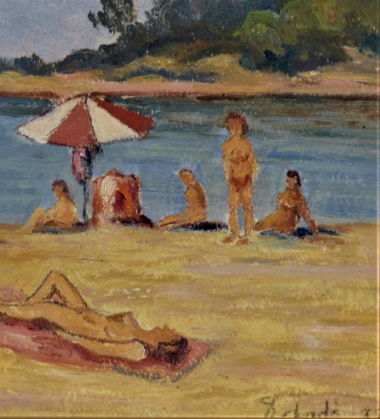 Artist:   Florent Chade (French, 1896-1985) Title:   Sur la Plage (On the Beach) Year:   1975 Medium:Oil on cardboard panel Board size:  10.65 x 13.75 inches Signature:   Signed lower right Condition:   Very good Frame:   Framed in a wooden gold