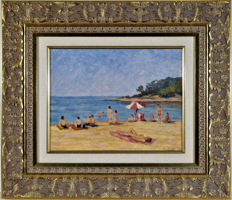 Florent Chade Landscape Painting - Sur la Plage (On the Beach)