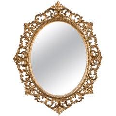 Florentine 19th Century Giltwood Oval Wall Mirror