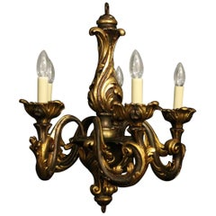 Florentine 19th Century Giltwood Rococo Antique Chandelier