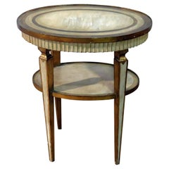 Italian Florentine Creme Painted and Gilded Oval Side End Table C1930