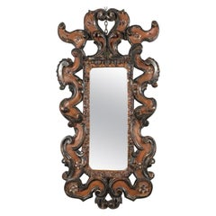 Florentine Carved Mirror by Bartolozzi Maioli Red Silver Leaf Finish, circa 1970