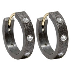 Florentine Champagne Diamond Gold and Oxidized Hoop Earrings