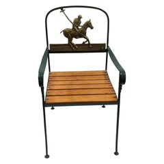 Florentine Craftsmen Polo Player Back Wrought Iron Armchair Made for MJ Knoud