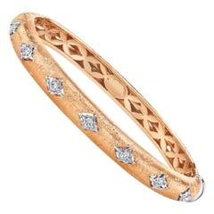 Florentine Design, Diamond, Rose and White Gold Bangle Bracelet, .36 Carat Total