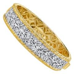 Florentine Design Diamond, Yellow and White Gold, Engraved Bangle Bracelet