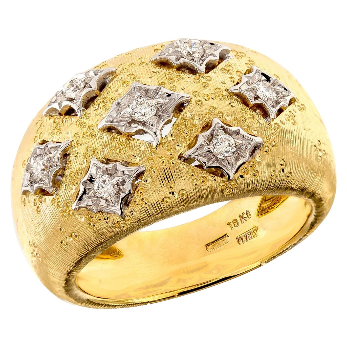 Florentine Finished 18 Karat Yellow Gold and Diamond Dome Ring