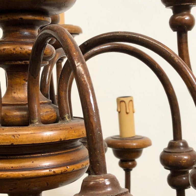 Florentine Florence Renaissance Style Wood and Metal Chandelier from Italy For Sale 6