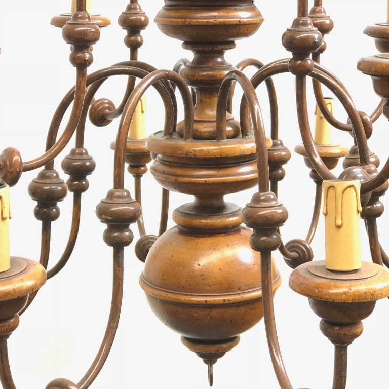 Mid-20th Century Florentine Florence Renaissance Style Wood and Metal Chandelier from Italy For Sale