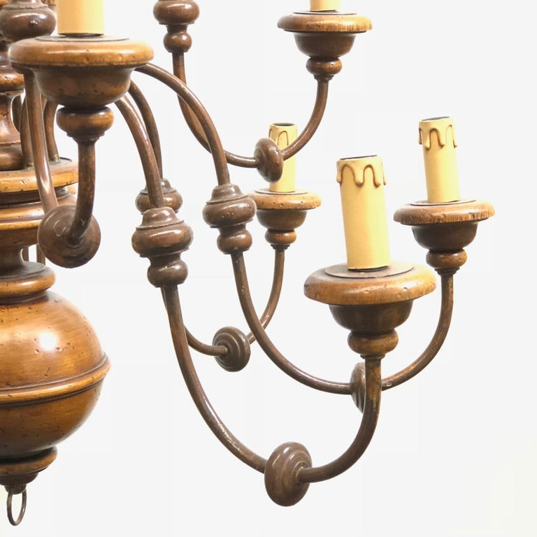 Florentine Florence Renaissance Style Wood and Metal Chandelier from Italy For Sale 1
