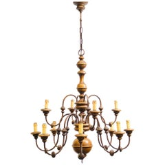 Florentine Florence Renaissance Style Wood and Metal Chandelier from Italy
