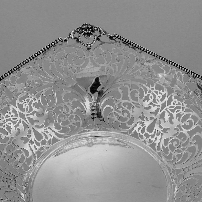 Italian Florentine Large Pierced Silver Bowl For Sale