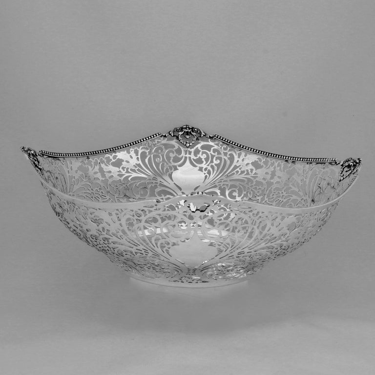 Mid-20th Century Florentine Large Pierced Silver Bowl For Sale