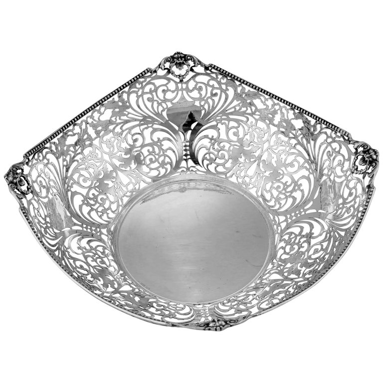 Florentine Large Pierced Silver Bowl For Sale