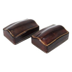 Florentine Mid-Century Embossed Leather Humpback Boxes